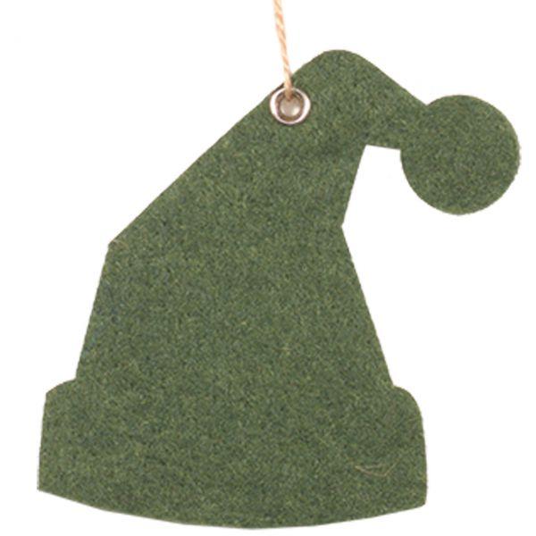 Dekoanhänger Filz Weihnachtsmütze grün