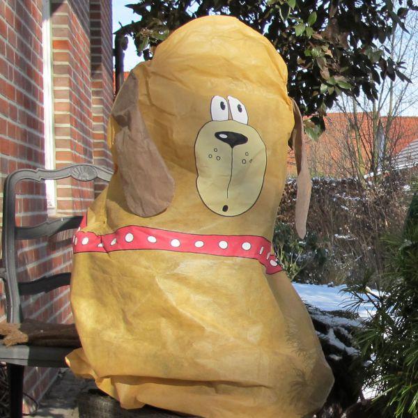 Vlieshaube Winterschutz Hund Bello braun