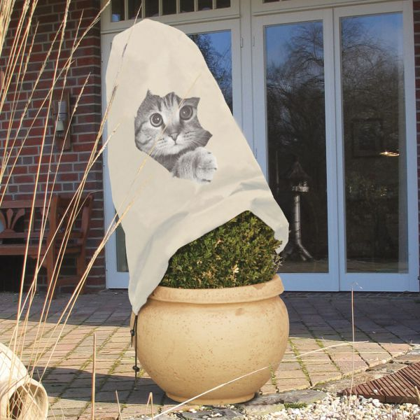 Vlieshaube Winterschutz neugierige Katze beige-grau