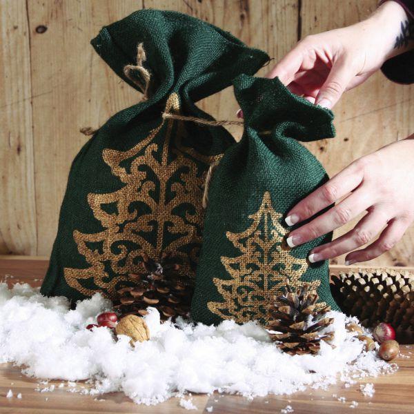 Jutesäckchen zum Adventskalender basteln Tannenbaum grün-gold