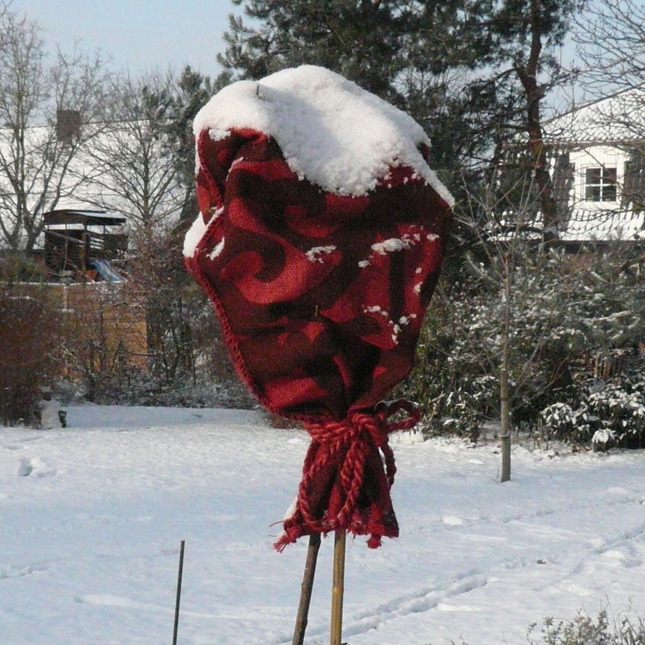 jutes cke winterschutz f r pflanzen rot bedruckt. Black Bedroom Furniture Sets. Home Design Ideas