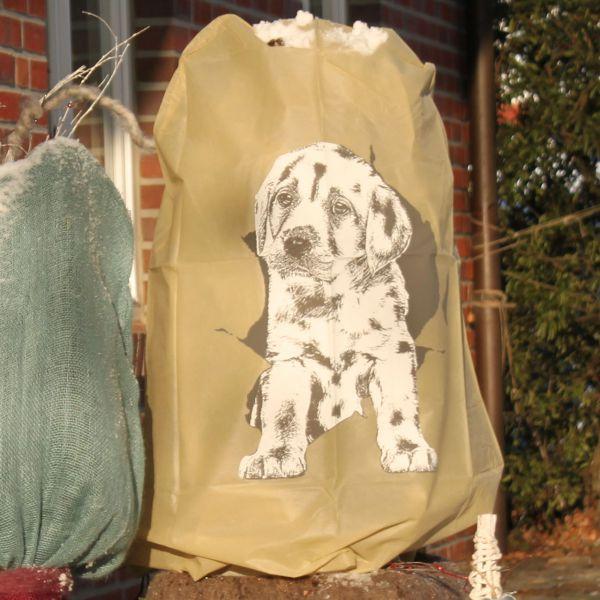 Vlieshaube Winterschutz tappsiger Hund beige