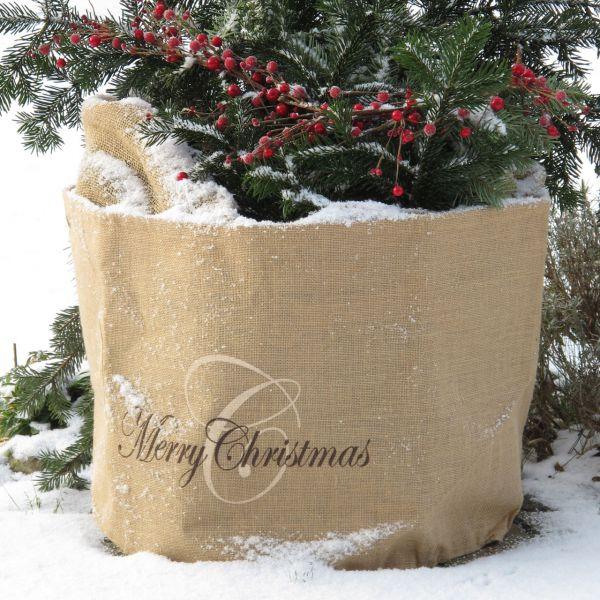 Jute-übertopf Kübelpflanzen Merry Christmas natur
