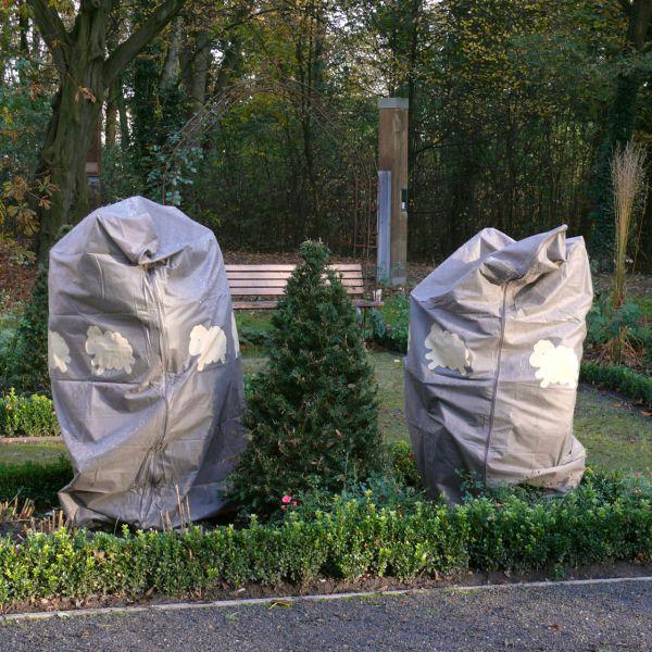 Vlieshaube Winterschutz groß XL Schäfchen taupe