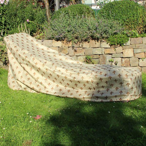 Gartenmöbel-Abdeckung Gartenliege Lilien-Design beige