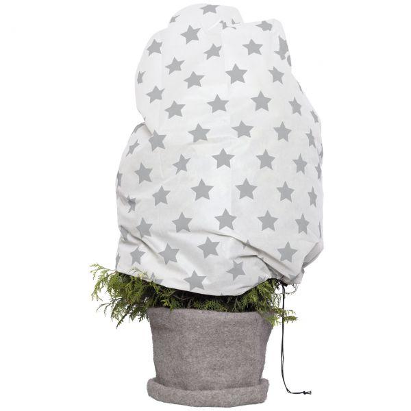 Winterschutz-Vlieshaube Sternchen, weiß/grau