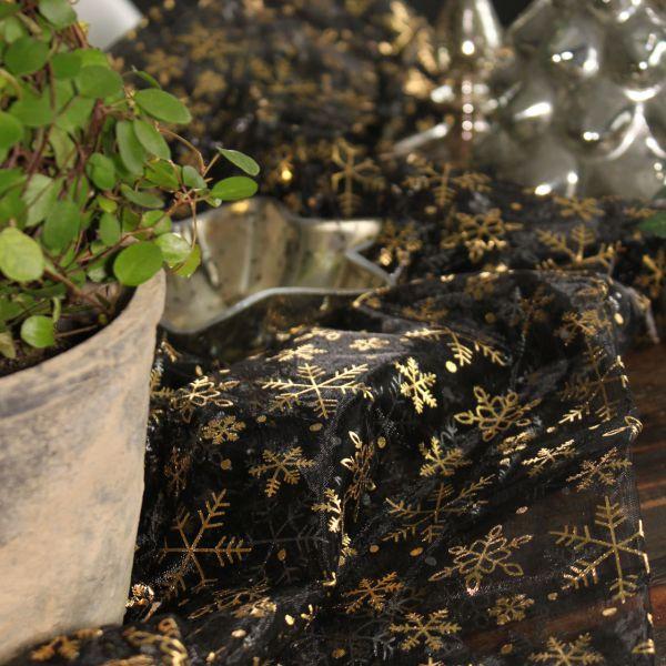 Dekostoff Organza 150x200cm Schneekristalle in silber-gold auf schwarz
