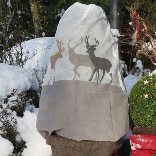 Vlieshaube Winterschutz Hirsche beige