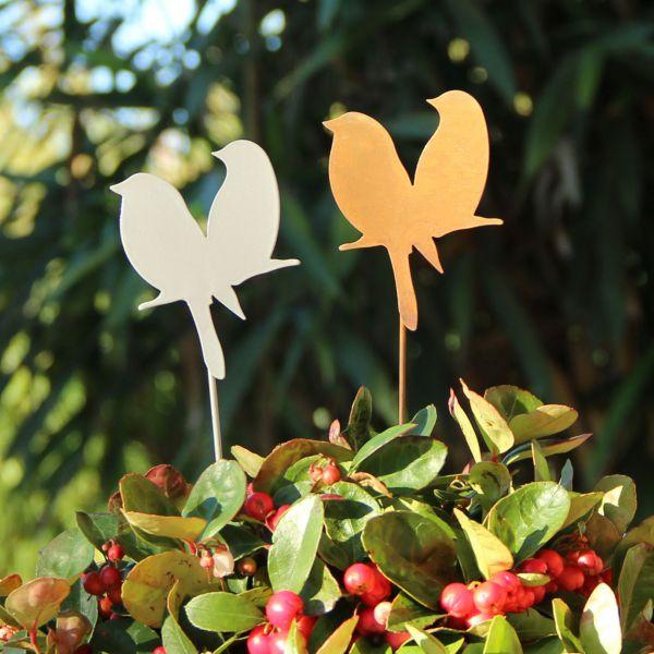 Metall Deko-Stecker Vogelpaar