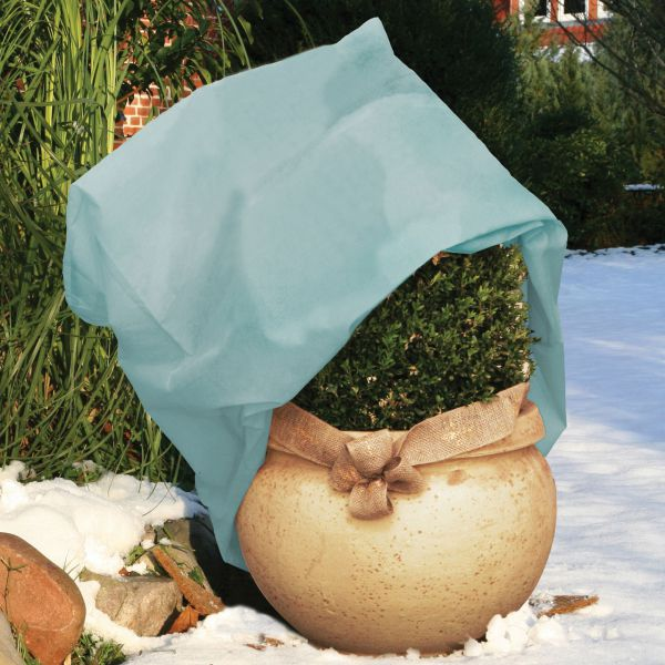 Vlieshaube Winterschutz Wintervlies eisblau