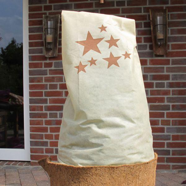 Vlieshaube Winterschutz Sterne beige-braun