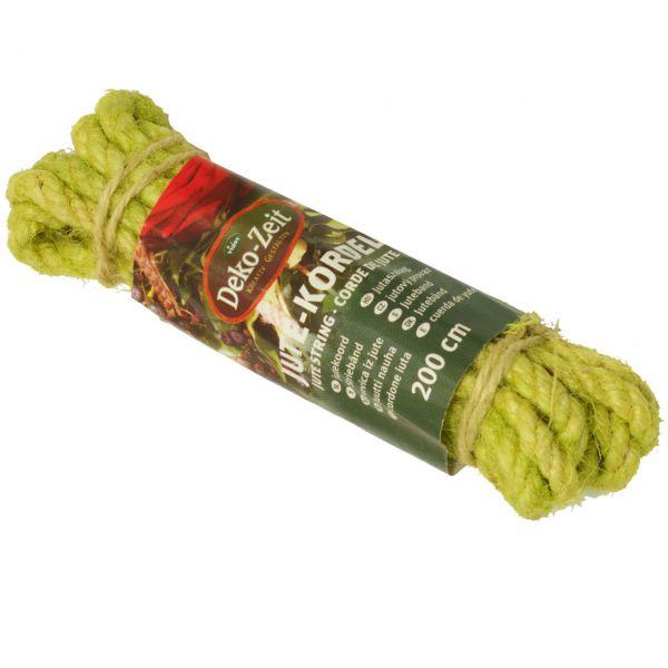 farbige Jutekordel, schmal Ø 8 mm, hellgrün