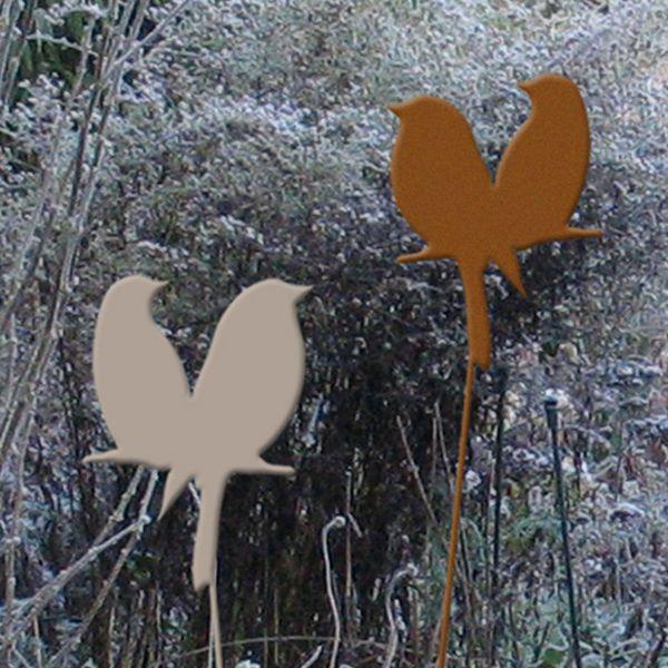 Metall-Gartenstecker Vogelpaar, 100cm