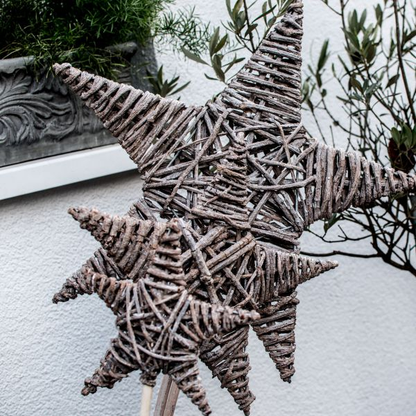 Gartenstecker Rebengeflecht Stern natur-grau