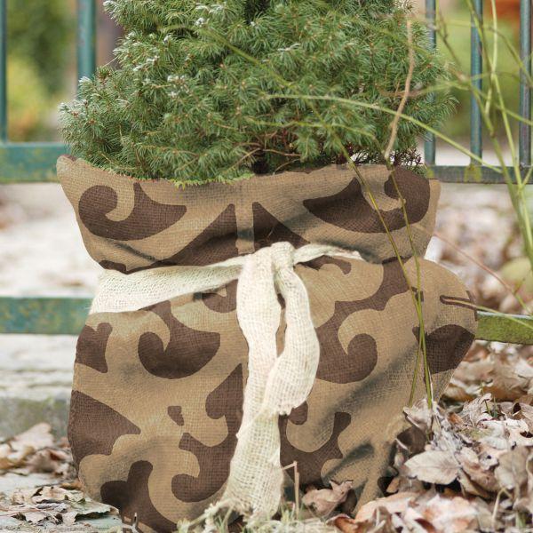Jutesack Winterschutz, Ornament-Design braun/beige
