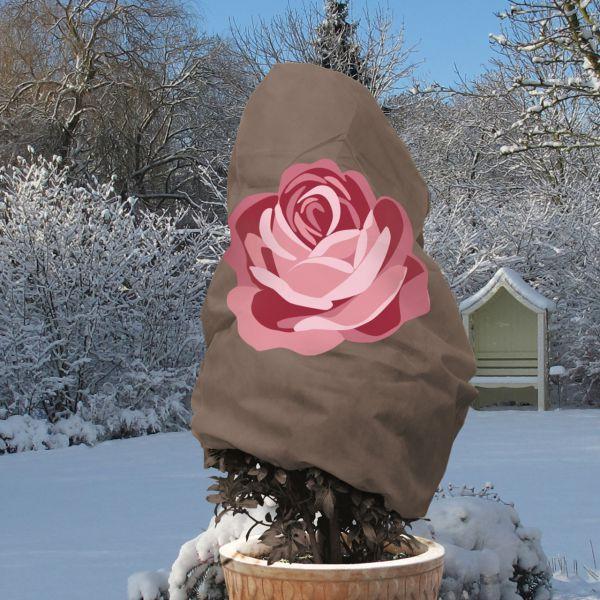Winterschutz Vlieshaube Rose, grau/rosa