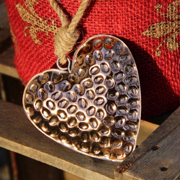 Anhänger Herz Nora 3D Struktur kupfer