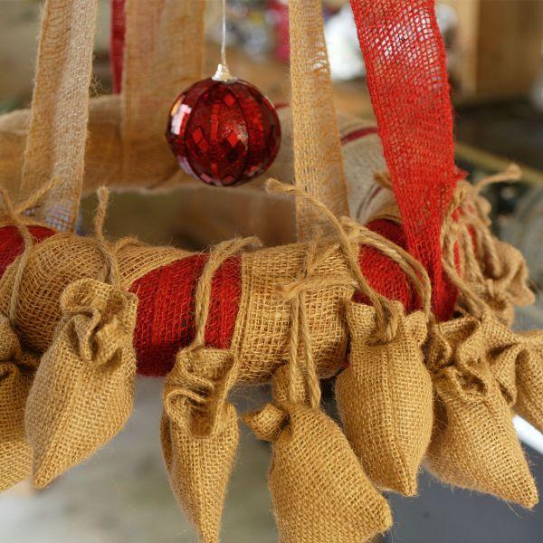 Jutesäckchen zum Adventskalender basteln natur